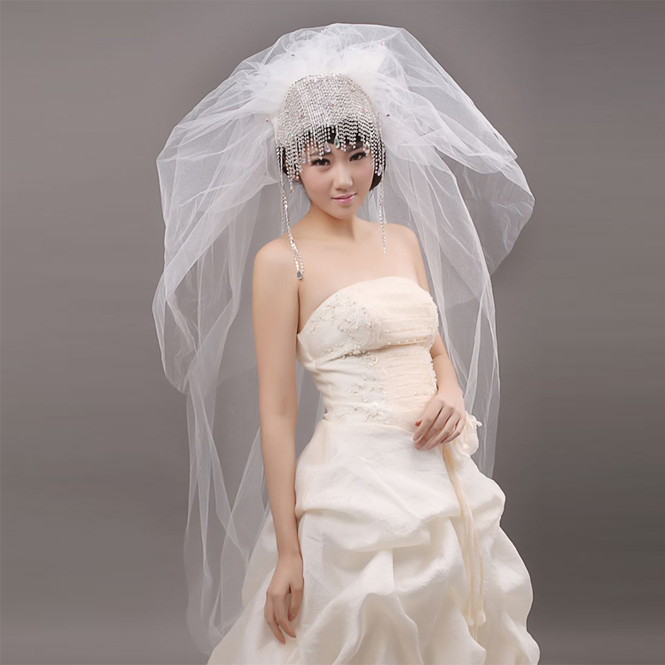 Voile de mariage Paillettes diamant blanc voile d'une longue queue